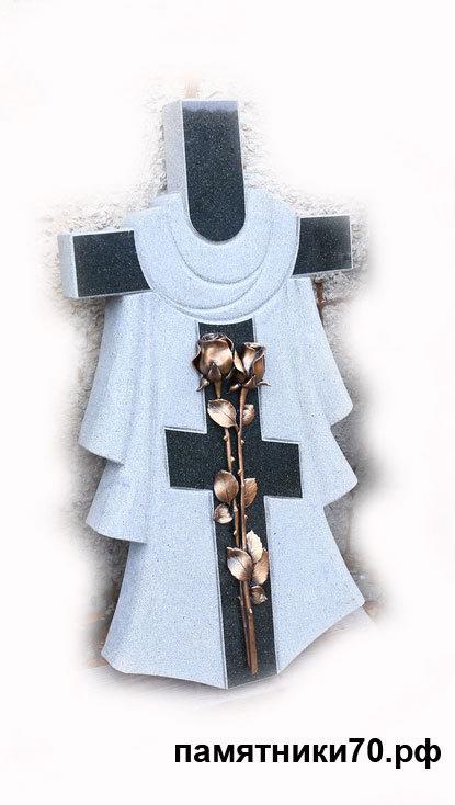 Гранитный крест с розой из литьевого мрамора